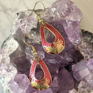 Vintage Cloisonne Drop Earrings